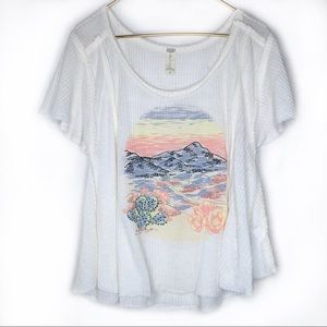ALTAR'D STATE Waffle Knit Cactus Graphic Top L